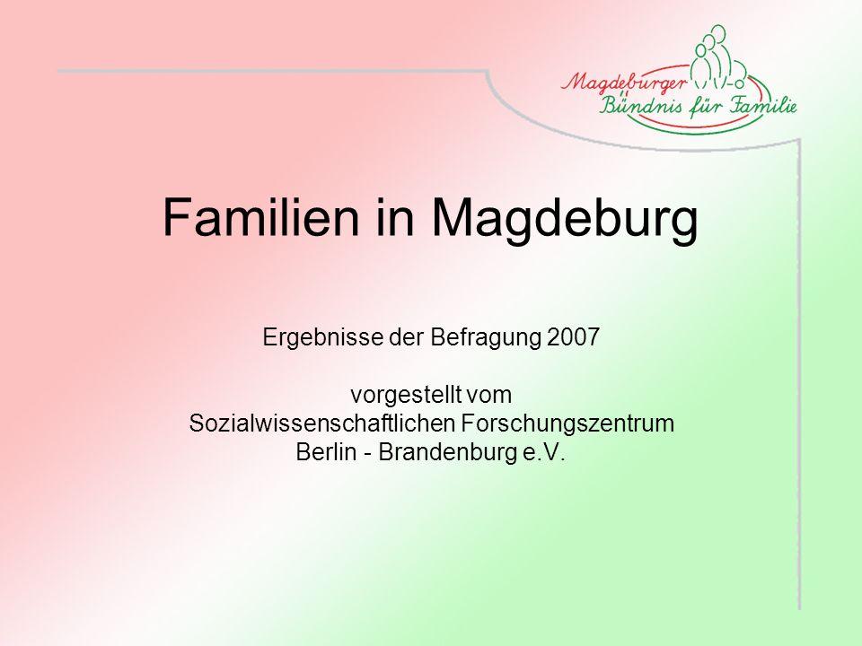 Familien in Magdeburg Ergebnisse der Befragung 2007 vorgestellt vom Sozialwissenschaftlichen Forschungszentrum Berlin - Brandenburg e.V.