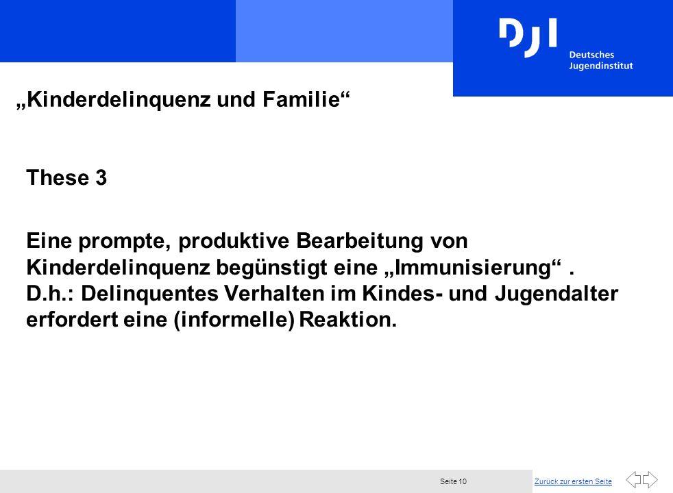 Zurück zur ersten SeiteSeite 10 Kinderdelinquenz und Familie These 3 Eine prompte, produktive Bearbeitung von Kinderdelinquenz begünstigt eine Immunis