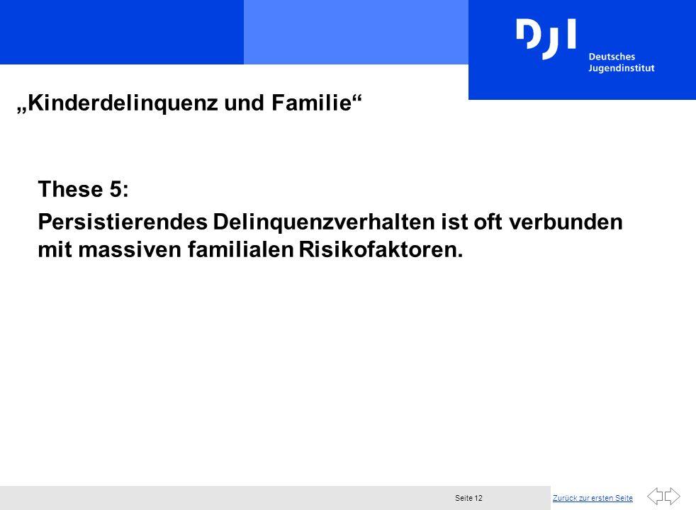 Zurück zur ersten SeiteSeite 12 Kinderdelinquenz und Familie These 5: Persistierendes Delinquenzverhalten ist oft verbunden mit massiven familialen Risikofaktoren.