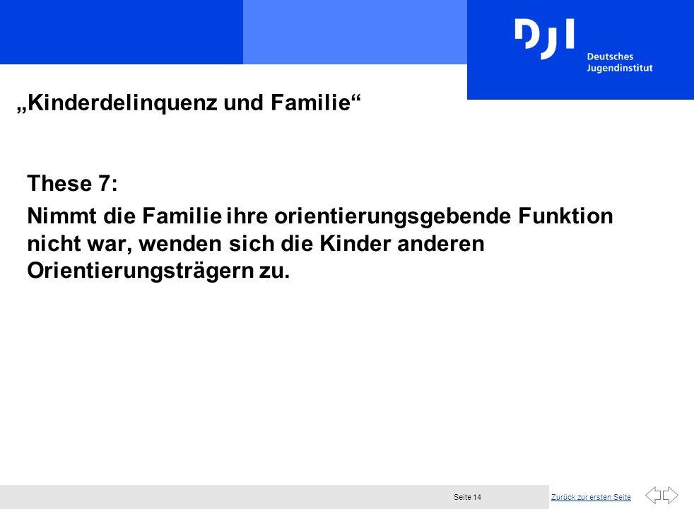 Zurück zur ersten SeiteSeite 14 Kinderdelinquenz und Familie These 7: Nimmt die Familie ihre orientierungsgebende Funktion nicht war, wenden sich die Kinder anderen Orientierungsträgern zu.