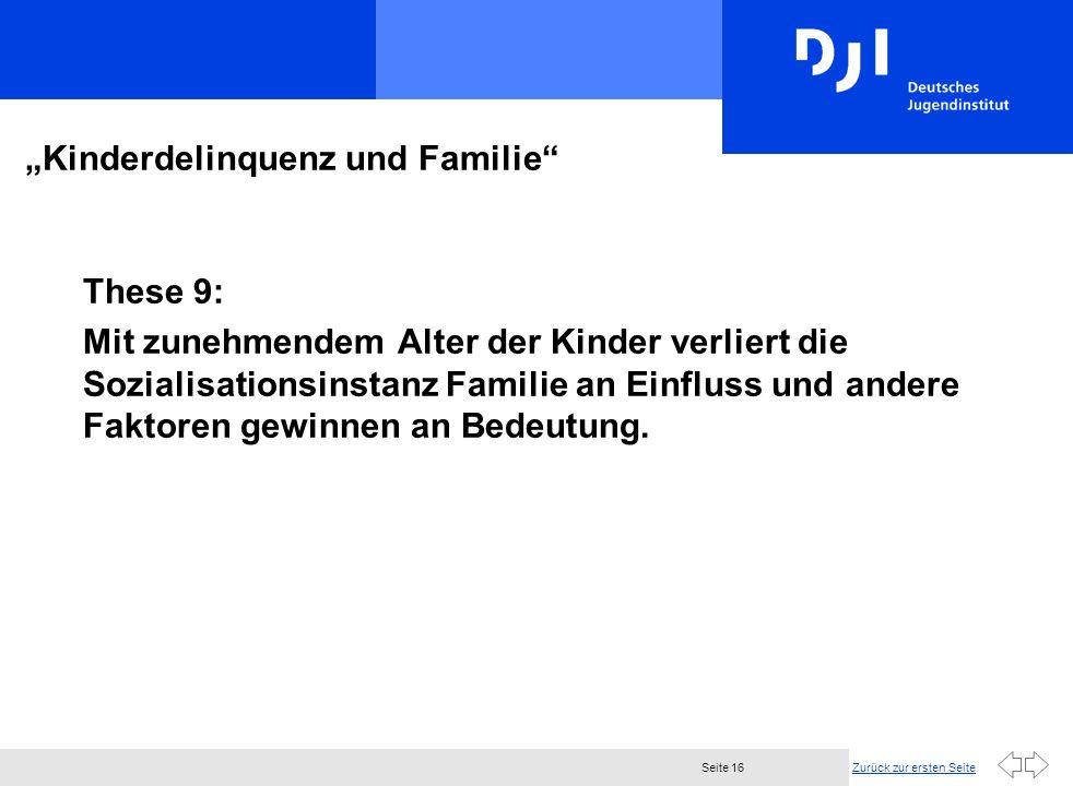 Zurück zur ersten SeiteSeite 16 Kinderdelinquenz und Familie These 9: Mit zunehmendem Alter der Kinder verliert die Sozialisationsinstanz Familie an Einfluss und andere Faktoren gewinnen an Bedeutung.