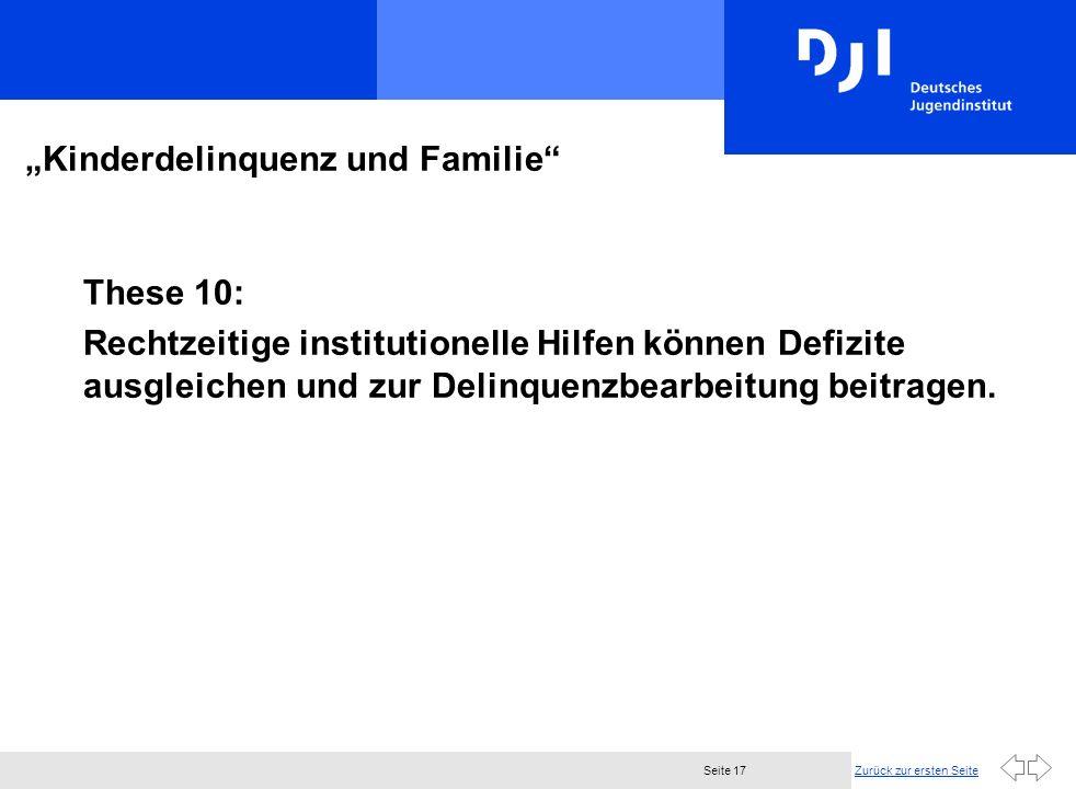Zurück zur ersten SeiteSeite 17 Kinderdelinquenz und Familie These 10: Rechtzeitige institutionelle Hilfen können Defizite ausgleichen und zur Delinquenzbearbeitung beitragen.