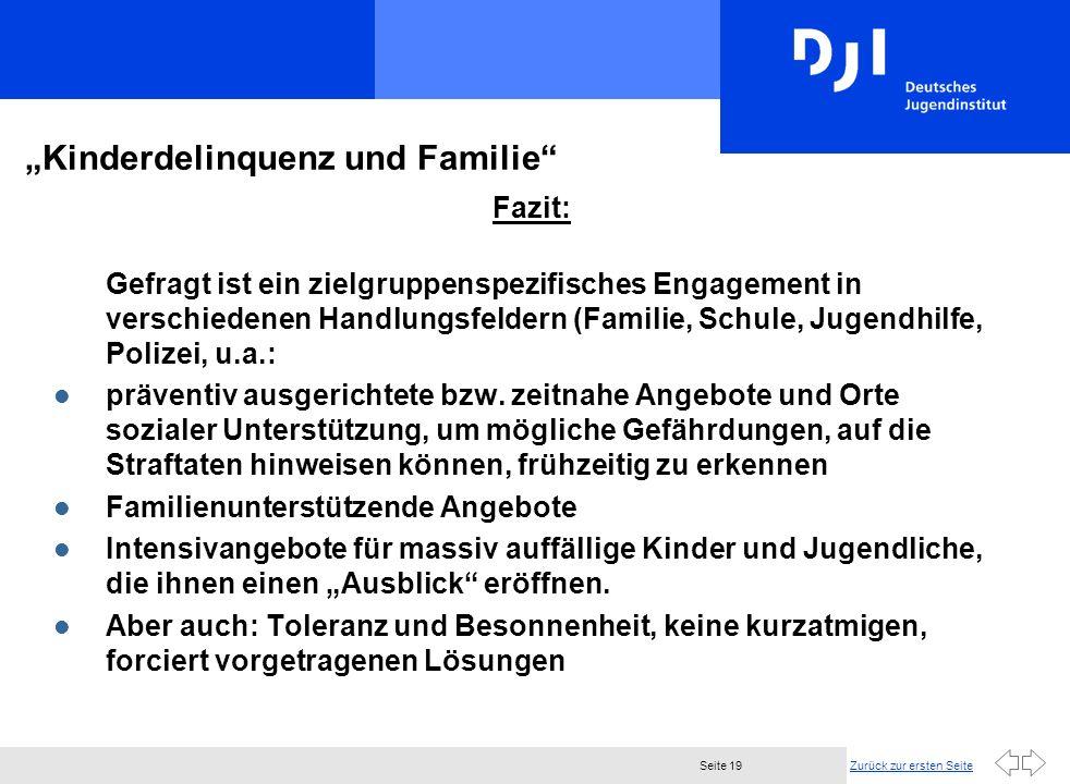 Zurück zur ersten SeiteSeite 19 Kinderdelinquenz und Familie Fazit: Gefragt ist ein zielgruppenspezifisches Engagement in verschiedenen Handlungsfeldern (Familie, Schule, Jugendhilfe, Polizei, u.a.: l präventiv ausgerichtete bzw.