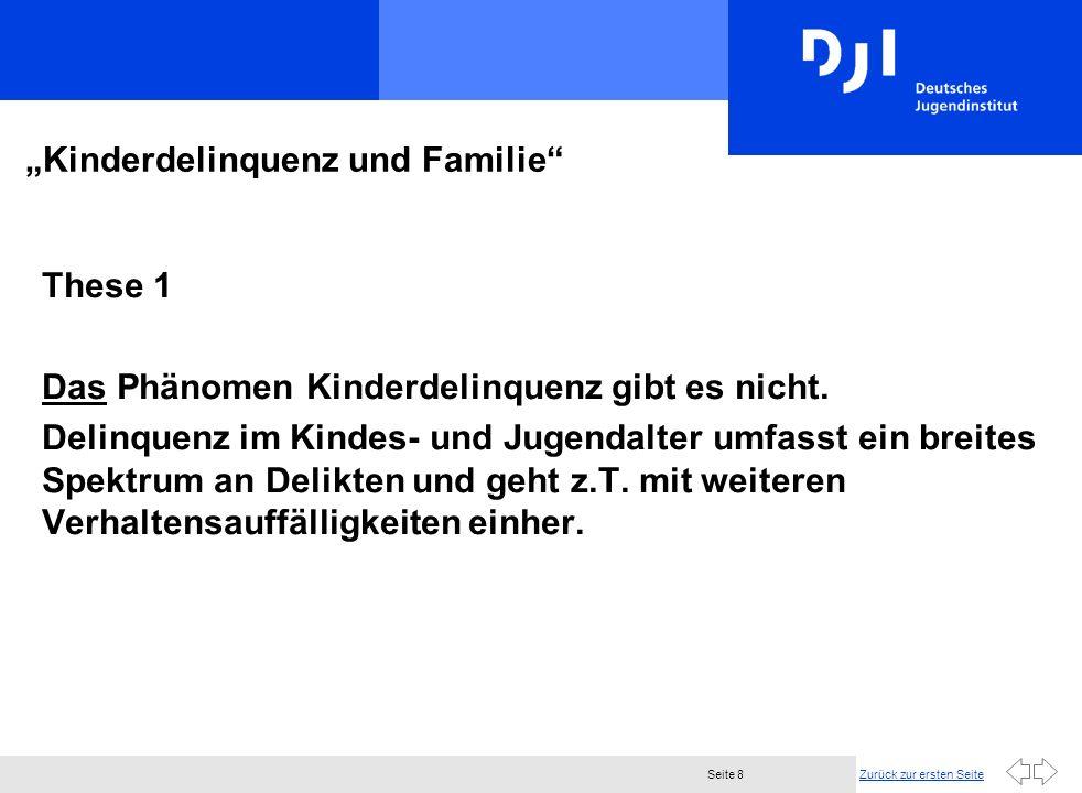 Zurück zur ersten SeiteSeite 8 Kinderdelinquenz und Familie These 1 Das Phänomen Kinderdelinquenz gibt es nicht. Delinquenz im Kindes- und Jugendalter