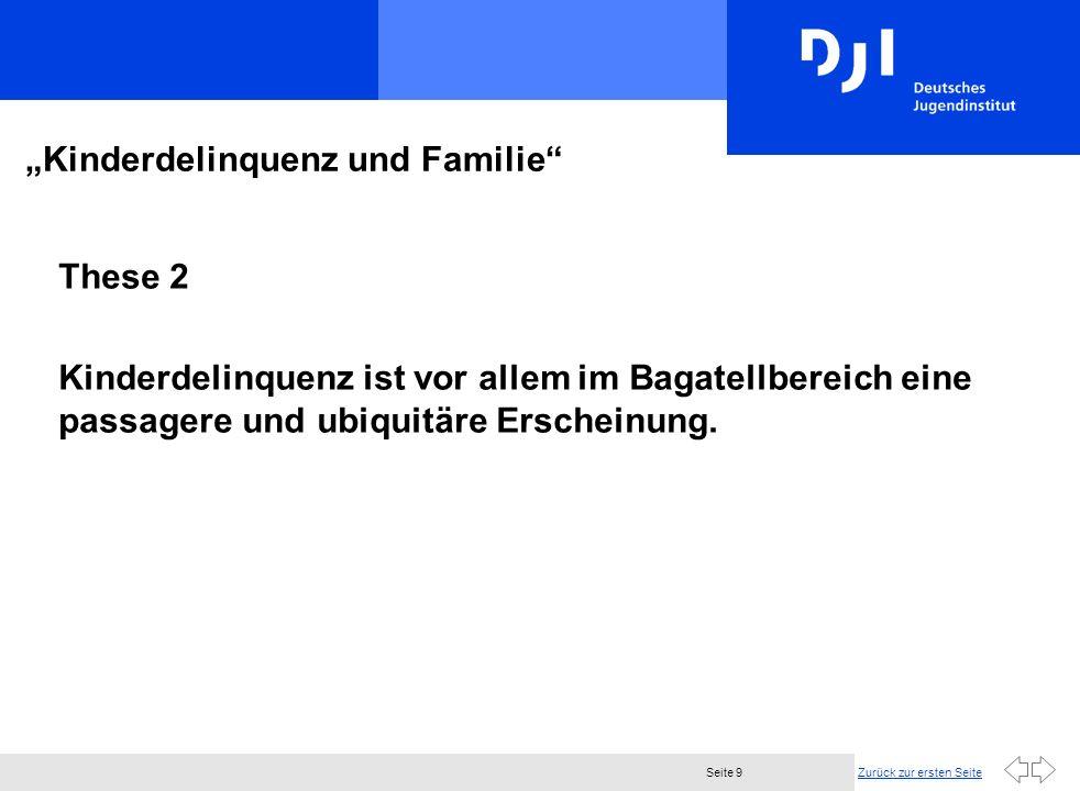 Zurück zur ersten SeiteSeite 9 Kinderdelinquenz und Familie These 2 Kinderdelinquenz ist vor allem im Bagatellbereich eine passagere und ubiquitäre Erscheinung.