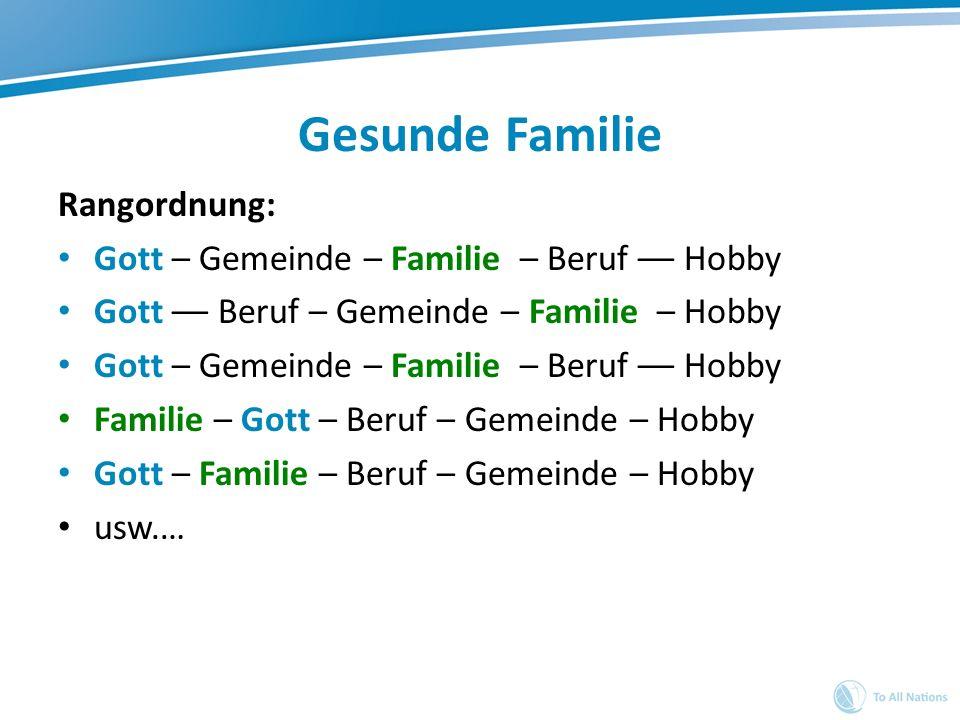 Gesunde Familie Rangordnung: Gott – Gemeinde – Familie – Beruf –– Hobby Gott –– Beruf – Gemeinde – Familie – Hobby Gott – Gemeinde – Familie – Beruf –