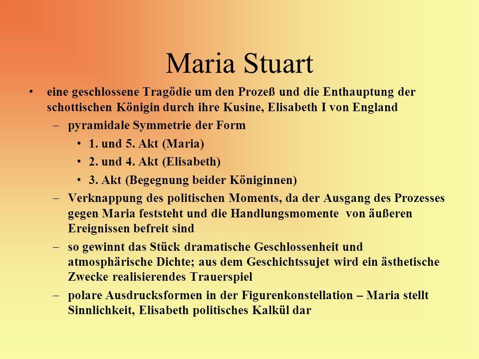 Maria Stuart eine geschlossene Tragödie um den Prozeß und die Enthauptung der schottischen Königin durch ihre Kusine, Elisabeth I von England –pyramid