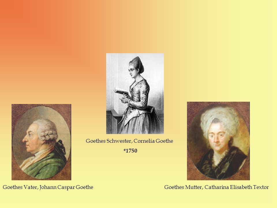 Goethes Vater, Johann Caspar Goethe Goethes Schwester, Cornelia Goethe *1750 Goethes Mutter, Catharina Elisabeth Textor