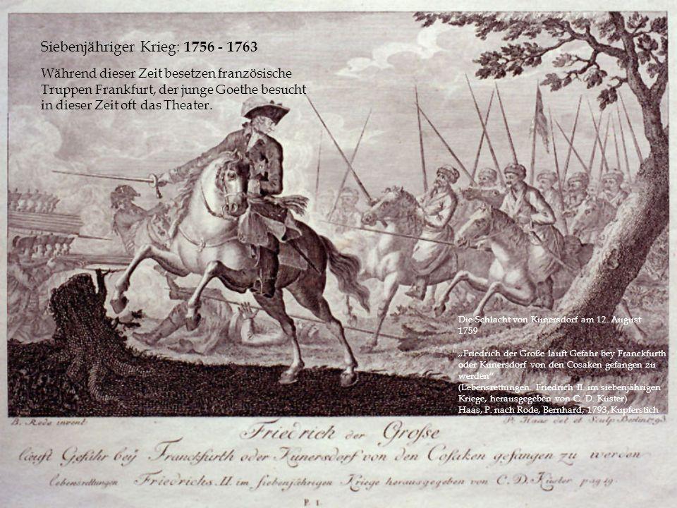 Die Schlacht von Kunersdorf am 12. August 1759 Friedrich der Große läuft Gefahr bey Franckfurth oder Kunersdorf von den Cosaken gefangen zu werden (Le