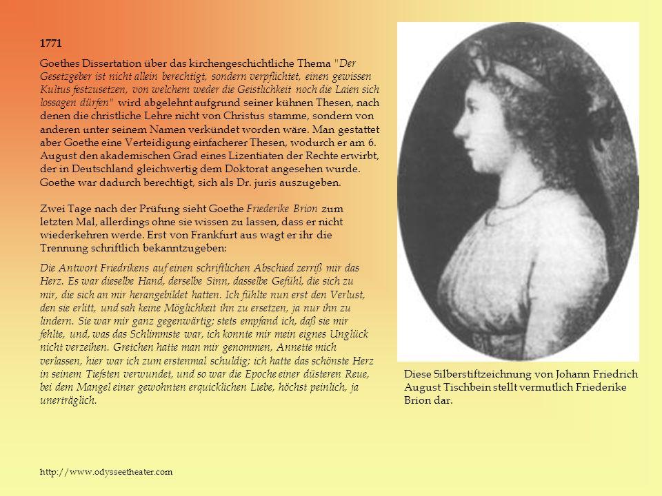 Zwei Tage nach der Prüfung sieht Goethe Friederike Brion zum letzten Mal, allerdings ohne sie wissen zu lassen, dass er nicht wiederkehren werde. Erst