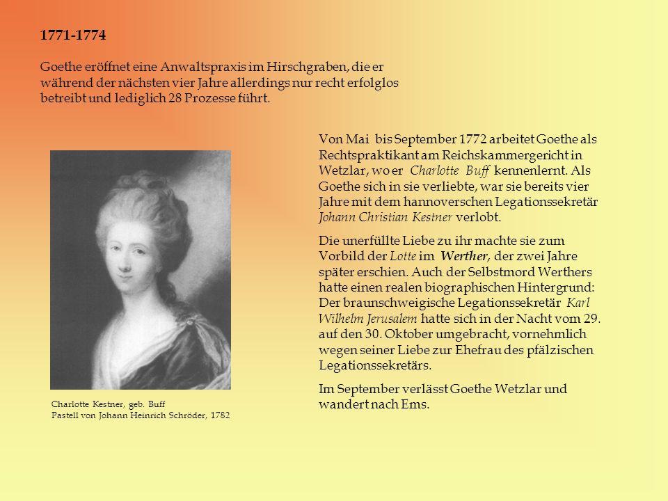 Goethe eröffnet eine Anwaltspraxis im Hirschgraben, die er während der nächsten vier Jahre allerdings nur recht erfolglos betreibt und lediglich 28 Pr