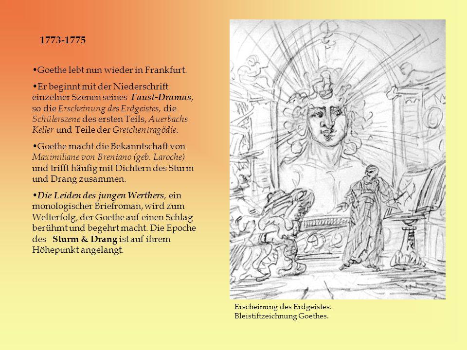 1773-1775 Erscheinung des Erdgeistes. Bleistiftzeichnung Goethes. Goethe lebt nun wieder in Frankfurt. Er beginnt mit der Niederschrift einzelner Szen