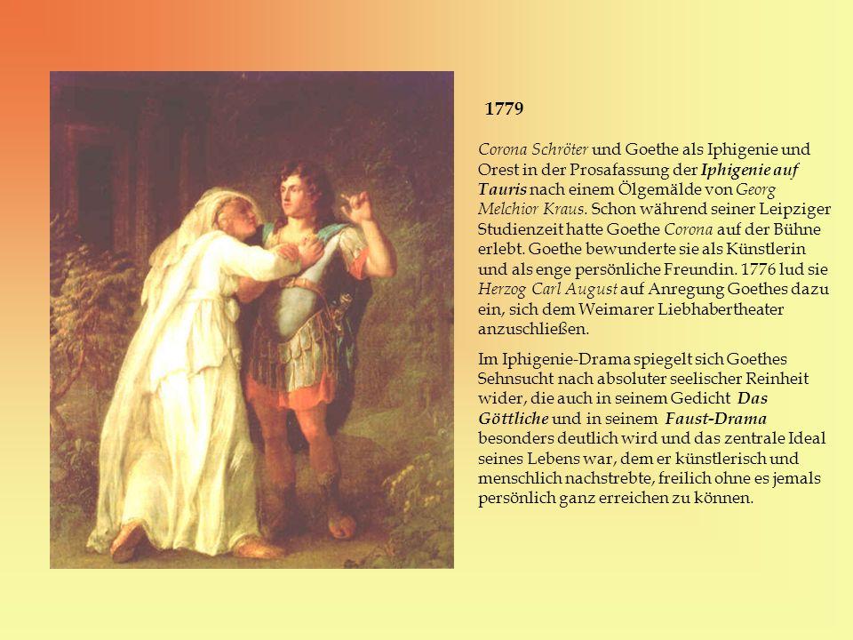 1779 Corona Schröter und Goethe als Iphigenie und Orest in der Prosafassung der Iphigenie auf Tauris nach einem Ölgemälde von Georg Melchior Kraus. Sc