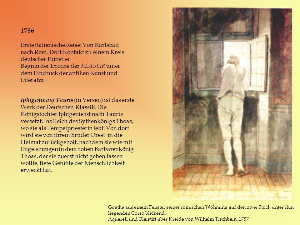 1786 Erste italienische Reise: Von Karlsbad nach Rom. Dort Kontakt zu einem Kreis deutscher Künstler. Beginn der Epoche der KLASSIK unter dem Eindruck