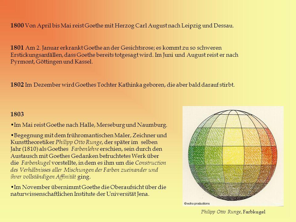 1800 Von April bis Mai reist Goethe mit Herzog Carl August nach Leipzig und Dessau. 1801 Am 2. Januar erkrankt Goethe an der Gesichtsrose; es kommt zu