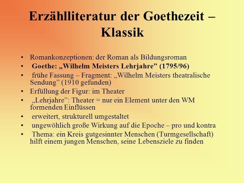 Erzählliteratur der Goethezeit – Klassik Romankonzeptionen: der Roman als Bildungsroman Goethe: Wilhelm Meisters Lehrjahre (1795/96) frühe Fassung – F