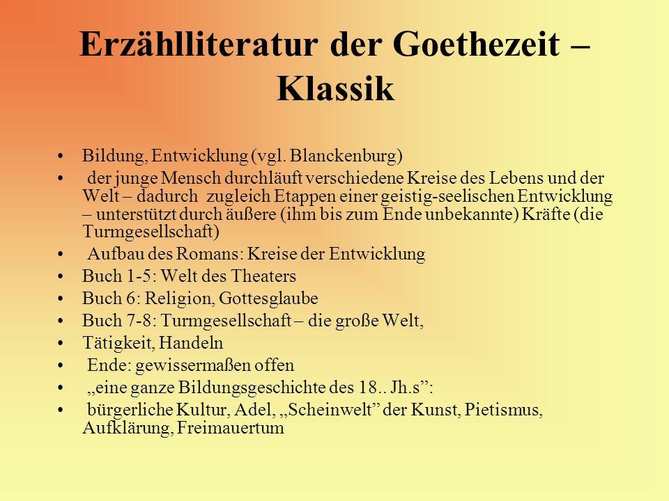 Erzählliteratur der Goethezeit – Klassik Bildung, Entwicklung (vgl. Blanckenburg) der junge Mensch durchläuft verschiedene Kreise des Lebens und der W