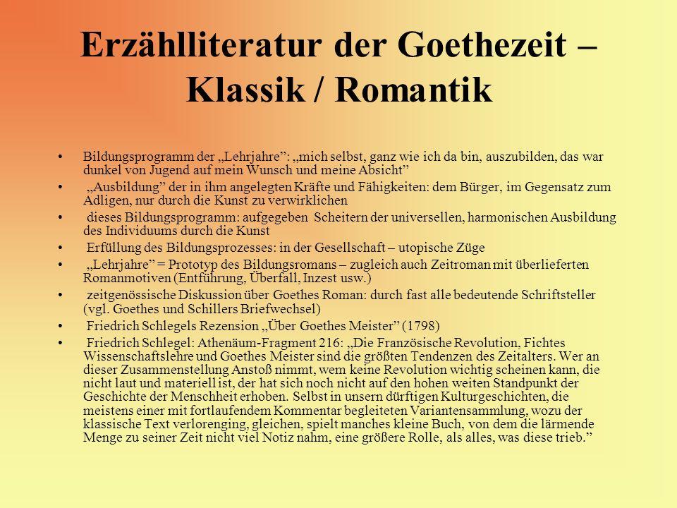 Erzählliteratur der Goethezeit – Klassik / Romantik Bildungsprogramm der Lehrjahre: mich selbst, ganz wie ich da bin, auszubilden, das war dunkel von