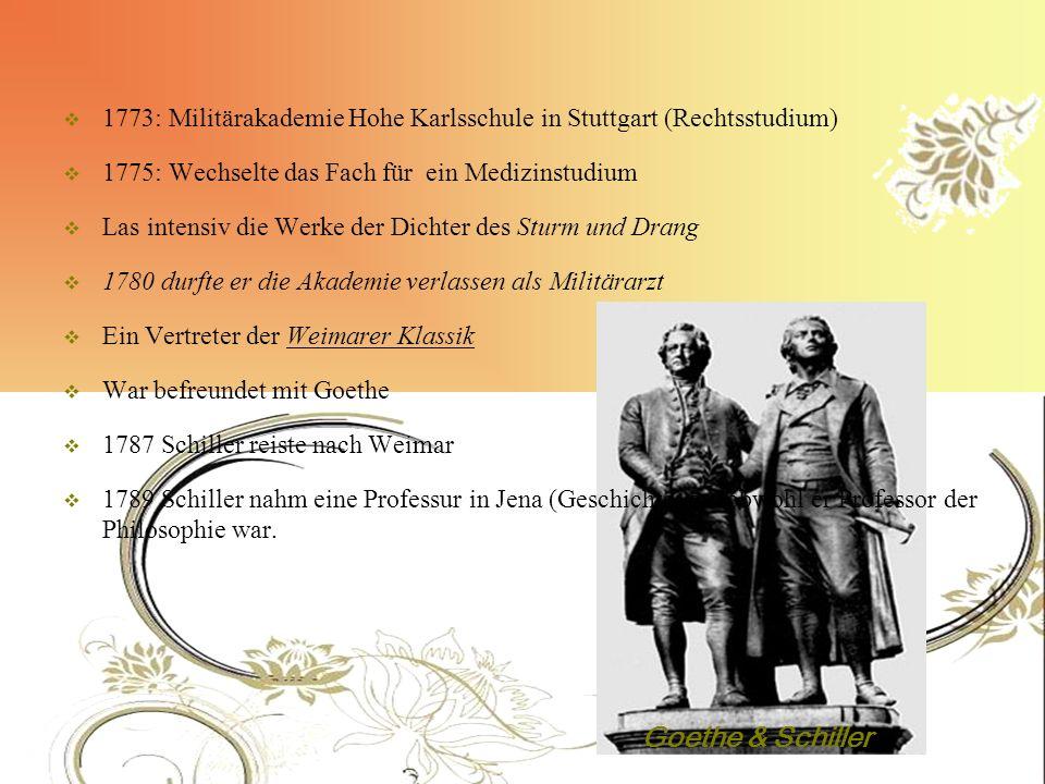 1773: Militärakademie Hohe Karlsschule in Stuttgart (Rechtsstudium) 1775: Wechselte das Fach für ein Medizinstudium Las intensiv die Werke der Dichter