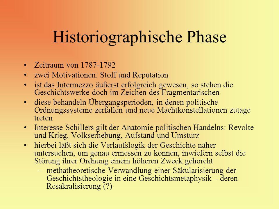 Historiographische Phase Zeitraum von 1787-1792 zwei Motivationen: Stoff und Reputation ist das Intermezzo äußerst erfolgreich gewesen, so stehen die