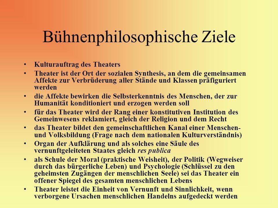 Bühnenphilosophische Ziele Kulturauftrag des Theaters Theater ist der Ort der sozialen Synthesis, an dem die gemeinsamen Affekte zur Verbrüderung alle