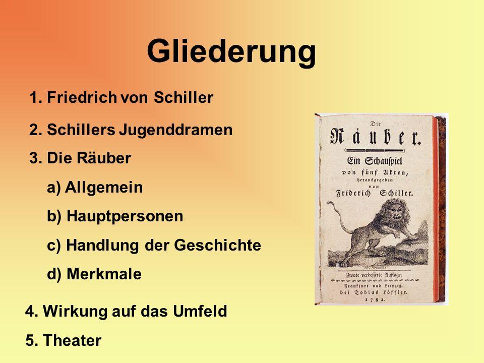 Gliederung 1. Friedrich von Schiller 2. Schillers Jugenddramen 3. Die Räuber a) Allgemein b) Hauptpersonen c) Handlung der Geschichte d) Merkmale 4. W