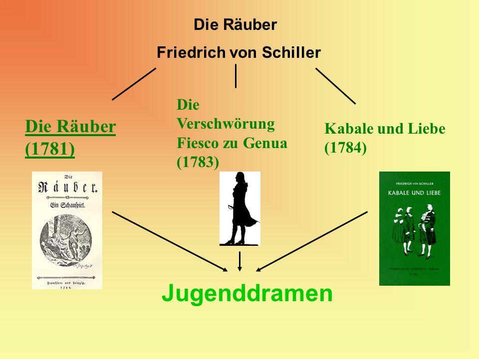Friedrich von Schiller Die Räuber Jugenddramen Die Räuber (1781) Die Verschwörung Fiesco zu Genua (1783) Kabale und Liebe (1784)