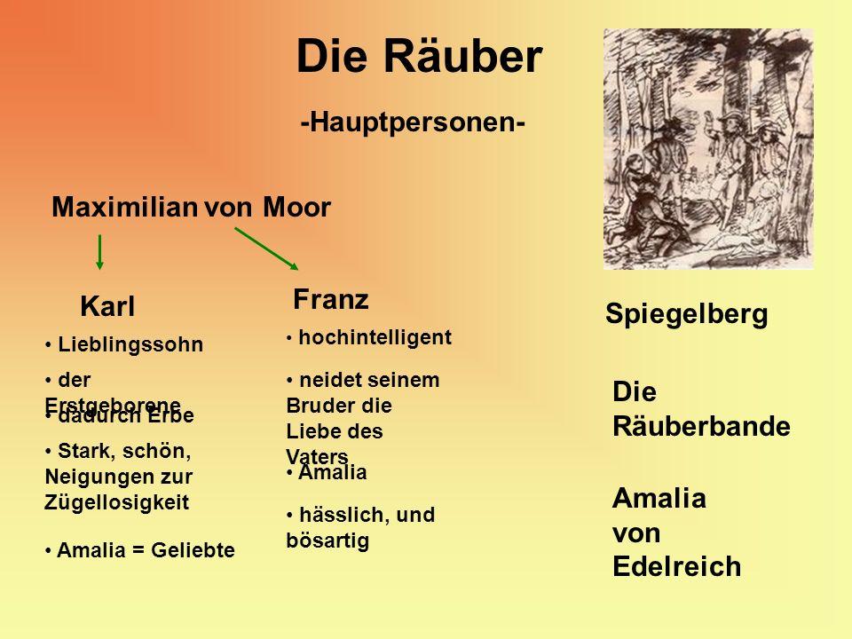 Die Räuber -Hauptpersonen- Maximilian von Moor Karl der Erstgeborene dadurch Erbe Stark, schön, Neigungen zur Zügellosigkeit Lieblingssohn Franz hochi