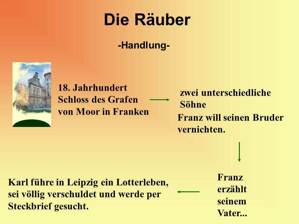 Die Räuber -Handlung- 18. Jahrhundert Schloss des Grafen von Moor in Franken zwei unterschiedliche Söhne Franz will seinen Bruder vernichten. Karl füh