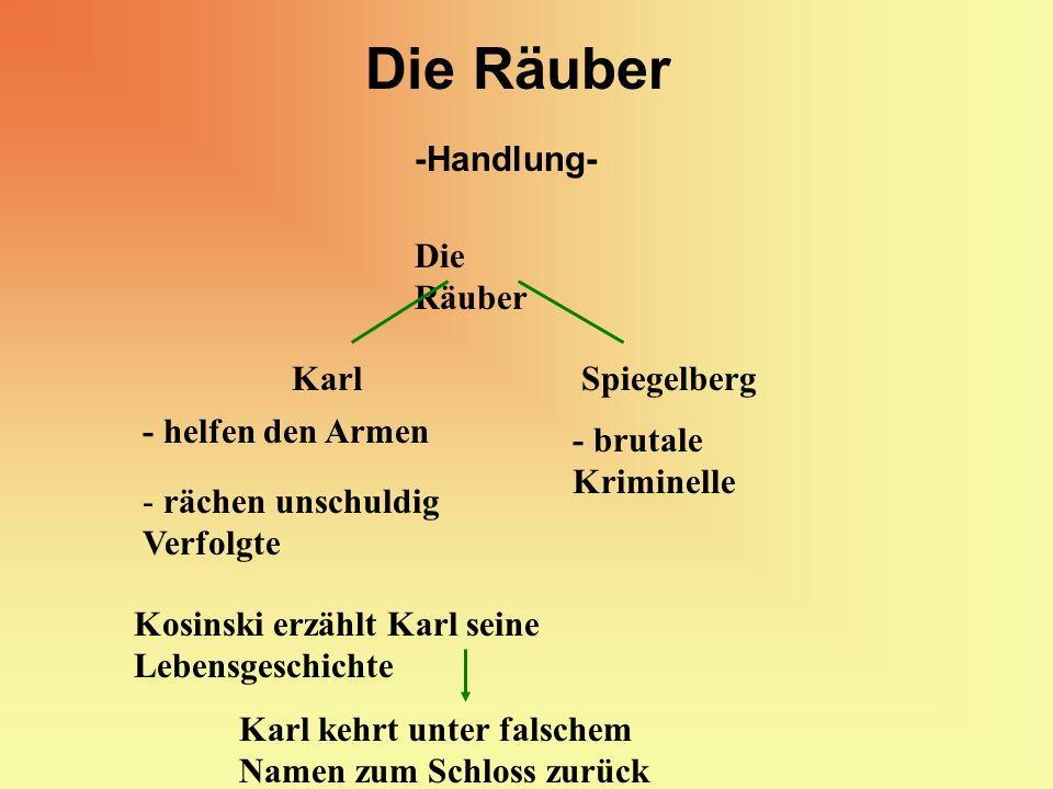Die Räuber -Handlung- Die Räuber KarlSpiegelberg - helfen den Armen - rächen unschuldig Verfolgte - brutale Kriminelle Kosinski erzählt Karl seine Leb