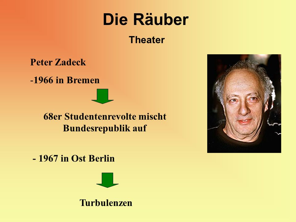 Die Räuber Theater Peter Zadeck -1966 in Bremen - 1967 in Ost Berlin 68er Studentenrevolte mischt Bundesrepublik auf Turbulenzen
