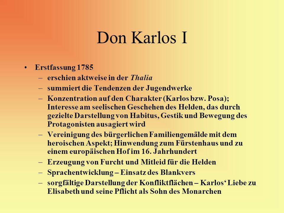 Don Karlos I Erstfassung 1785 –erschien aktweise in der Thalia –summiert die Tendenzen der Jugendwerke –Konzentration auf den Charakter (Karlos bzw. P