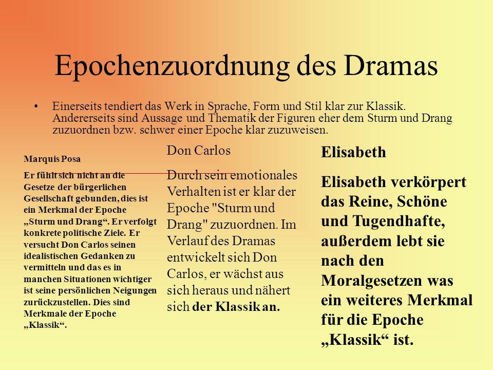 Epochenzuordnung des Dramas Einerseits tendiert das Werk in Sprache, Form und Stil klar zur Klassik. Andererseits sind Aussage und Thematik der Figure