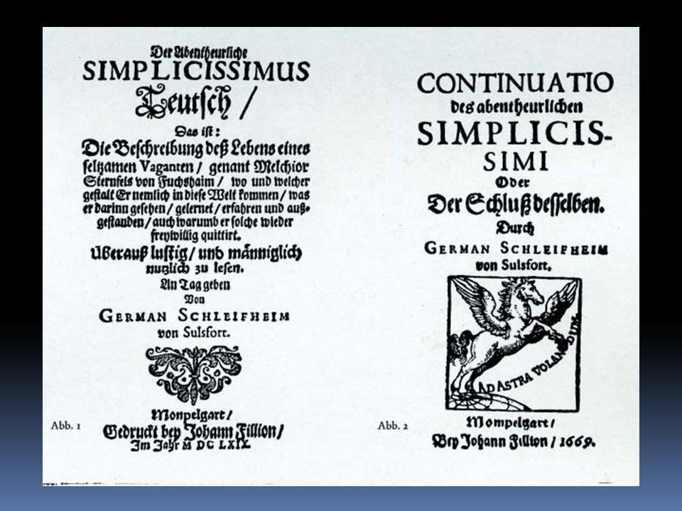 Hans Jakob Christoffel von Grimmelshausen Jakob Christoffel von Grimmelshausen: Abentheurlicher Simplicissimus Teutsch Titelbild der Erstausgabe des S