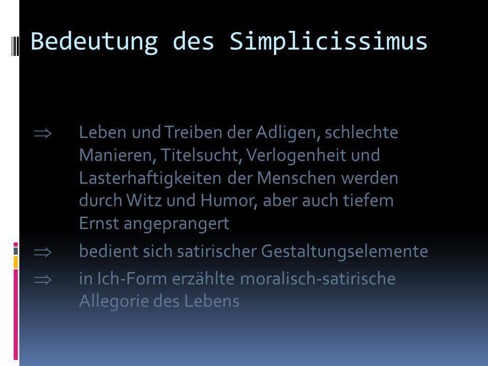 Bedeutung des Simplicissimus Das Werk enthält autobiografische Züge Die Hauptfigur ist ein soldatischer Glücksritter in Wirren des Dreißigjährigen Kri