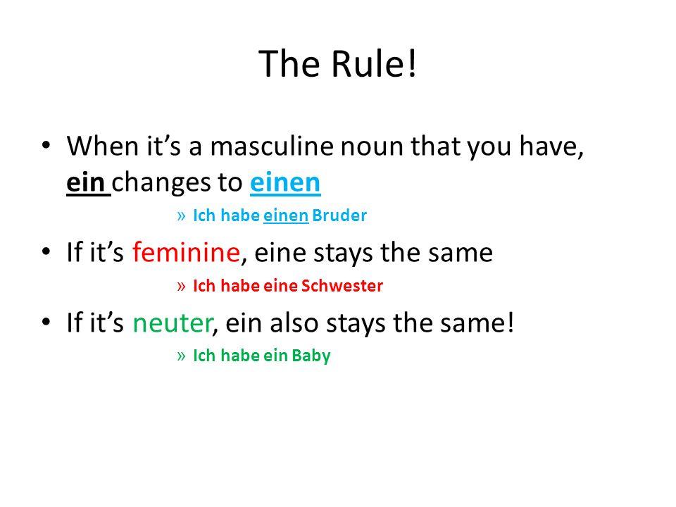 The Rule! When its a masculine noun that you have, ein changes to einen » Ich habe einen Bruder If its feminine, eine stays the same » Ich habe eine S