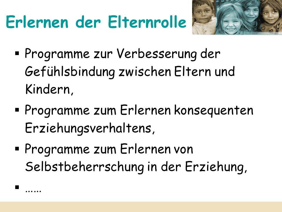 Erlernen der Elternrolle Programme zur Verbesserung der Gefühlsbindung zwischen Eltern und Kindern, Programme zum Erlernen konsequenten Erziehungsverh