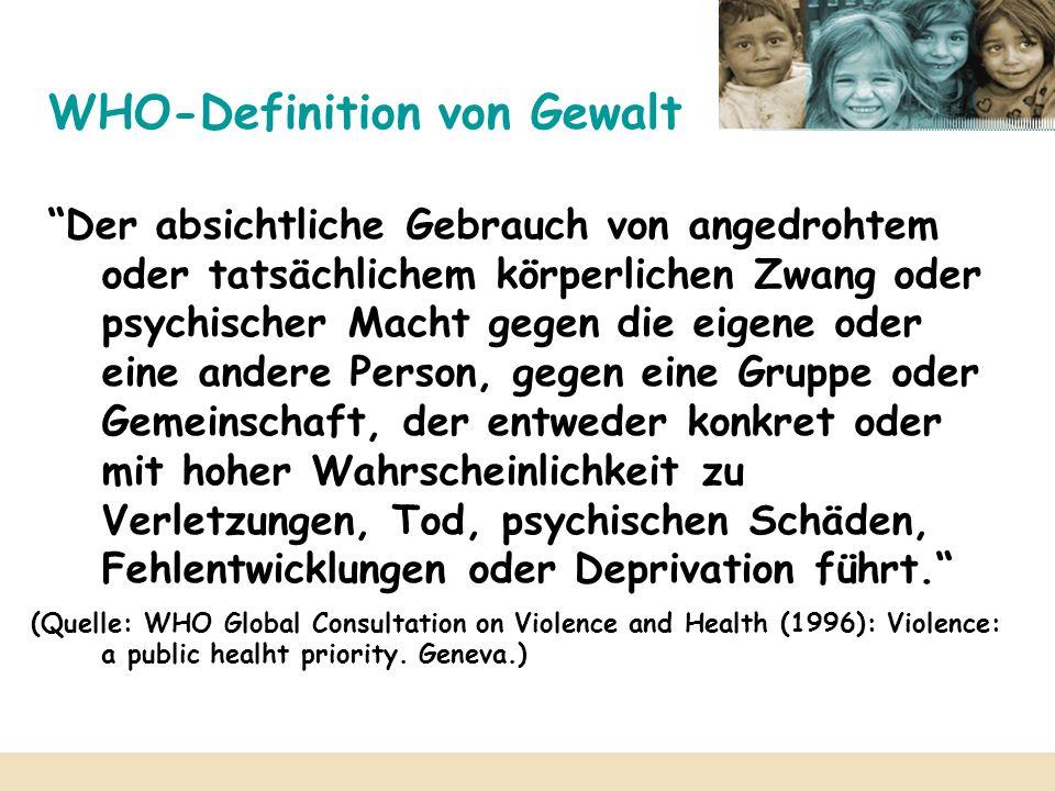 WHO-Definition von Gewalt Der absichtliche Gebrauch von angedrohtem oder tatsächlichem körperlichen Zwang oder psychischer Macht gegen die eigene oder