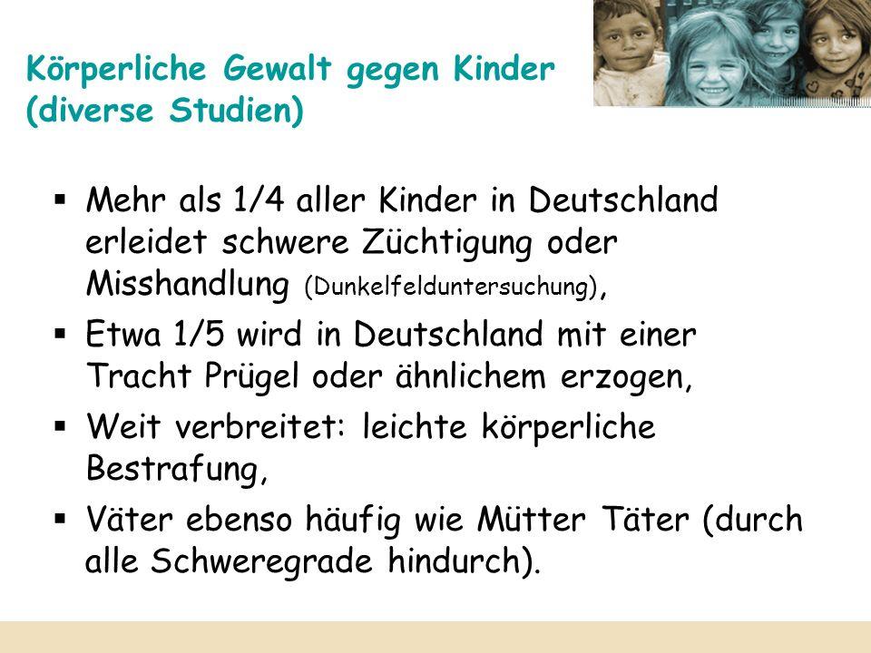 Sexuelle Gewalt gegen Kinder Geschätzt: 300 000 Übergriffe pro Jahr in Deutschland, Orte: Mädchen vorwiegend in der Familie, Jungen eher im näheren Bekanntenkreis, In 90% der Fälle sind Täter männlichen Geschlechts: – 53% Väter, 16% Stiefväter u.ä., 6% ältere Brüder, 5% Onkel, 3% Großväter, 10% Nachbarn oder Freunde, – 6% Lehrer/Erzieher/Ärzte, – 1% eher Unbekannte.