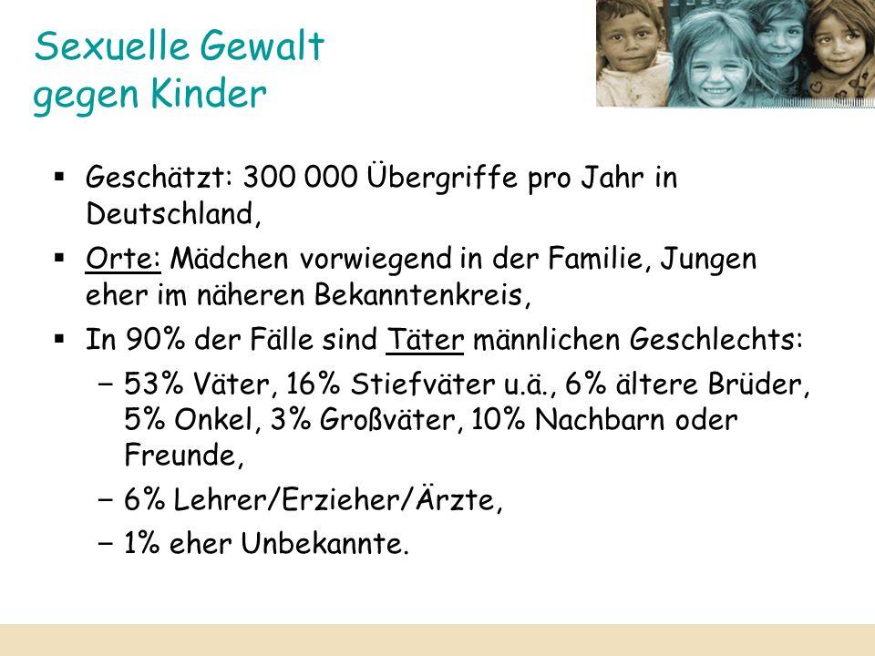 Sexuelle Gewalt gegen Kinder Geschätzt: 300 000 Übergriffe pro Jahr in Deutschland, Orte: Mädchen vorwiegend in der Familie, Jungen eher im näheren Be