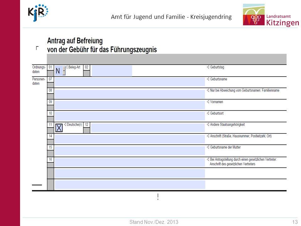 Amt für Jugend und Familie - Kreisjugendring Stand Nov./Dez. 201313