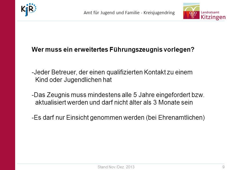 Amt für Jugend und Familie - Kreisjugendring Stand Nov./Dez.
