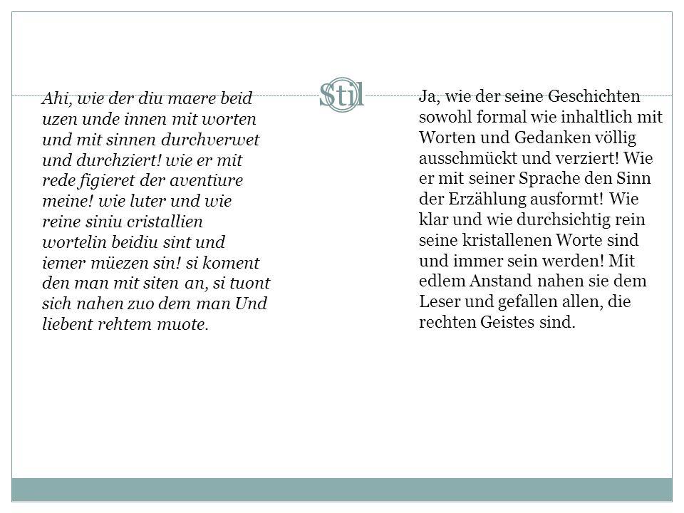 Interpretationsversuch kürzestes Werk Hartmanns: 1500 Verse Heraushebung der großen Verbundenheit zu seinem Herrn Gottes Gnade durch den Willen guten
