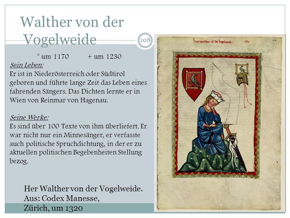 107 Kreuzlied (MF 218,5) Gliederung 1. Abschied von der höf. Gesellschaft. Grund: mich vienc diu minne (Liebesklage??) 2. Von Minne reden (rüemen) und