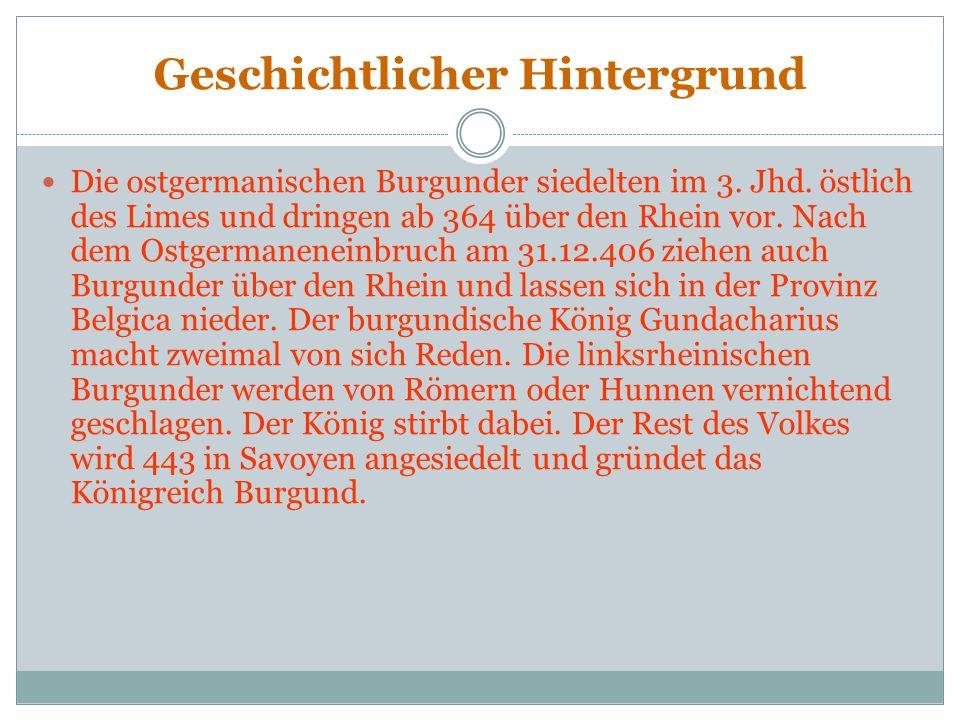 Inhalt Das Lied der Nibelungen ist das deutsche Heldenepos und ist in zwei Teile getrennt. Im ersten Teil des Nibelungenlieds geht es um: Siegfried, d