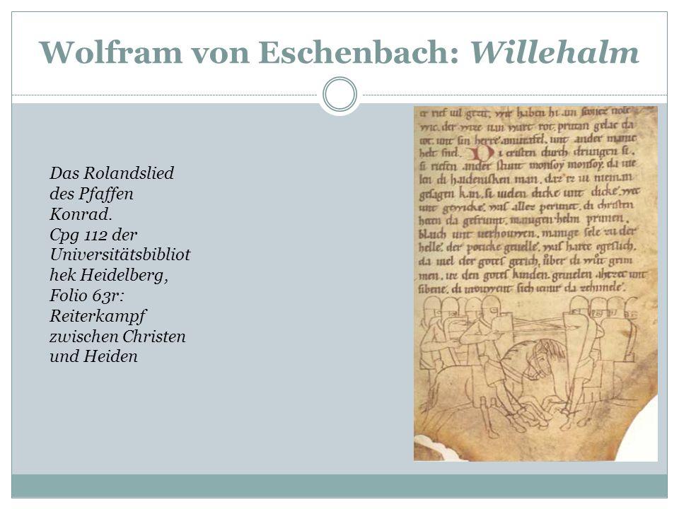 Wolfram von Eschenbach: Willehalm Bild 1: Beginn des Romans mit Initiale A[ne] und Bild der Haupthelden Willehalm und Giburg