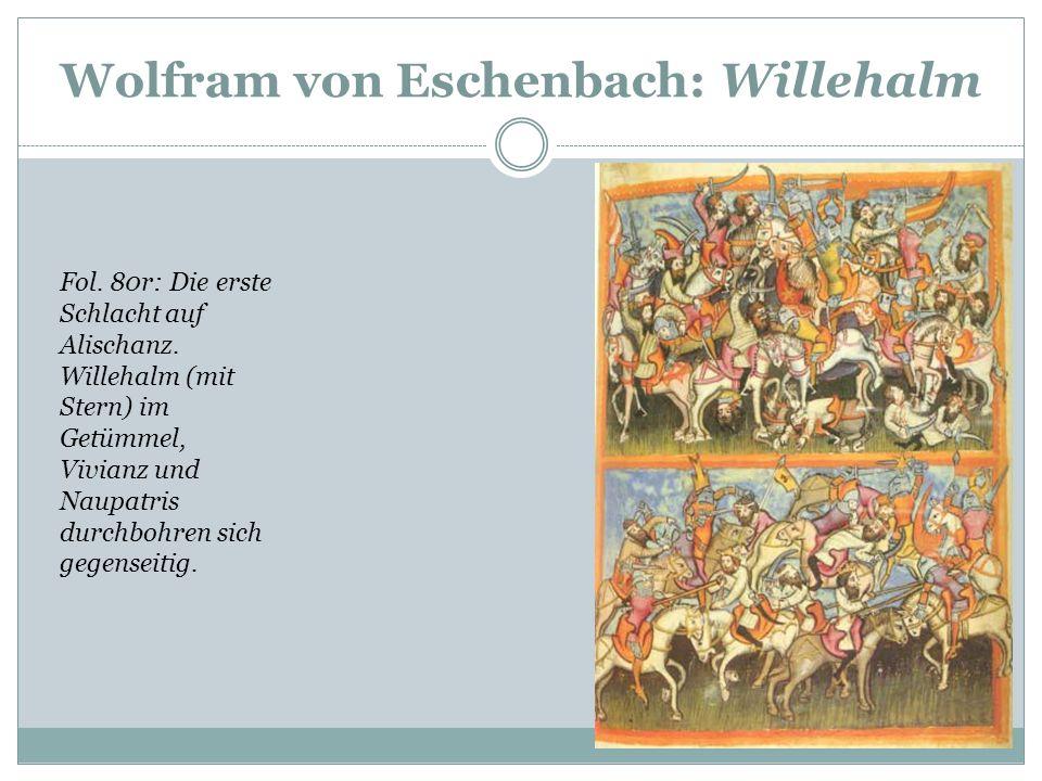 Wolfram von Eschenbach: Willehalm Das Rolandslied des Pfaffen Konrad. Cpg 112 der Universitätsbibliot hek Heidelberg, Folio 63r: Reiterkampf zwischen