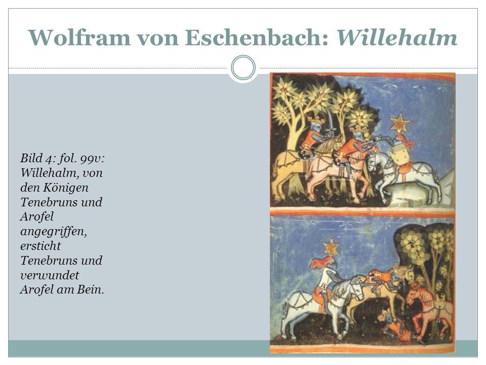 Wolfram von Eschenbach: Willehalm Fol. 80r: Die erste Schlacht auf Alischanz. Willehalm (mit Stern) im Getümmel, Vivianz und Naupatris durchbohren sic