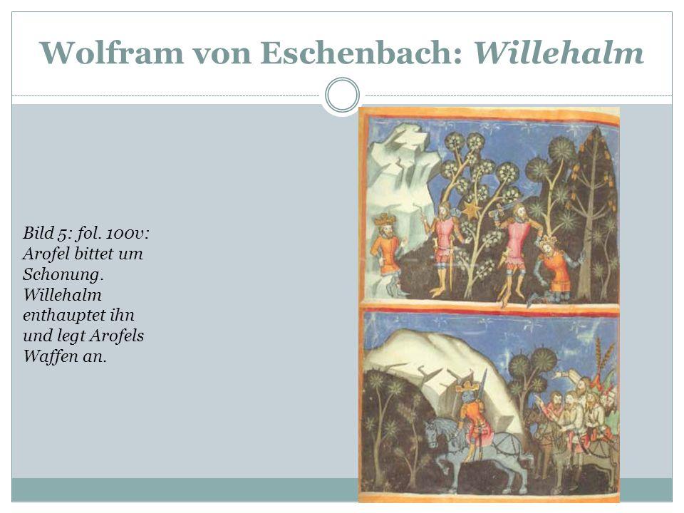 Wolfram von Eschenbach: Willehalm Bild 4: fol. 99v: Willehalm, von den Königen Tenebruns und Arofel angegriffen, ersticht Tenebruns und verwundet Arof