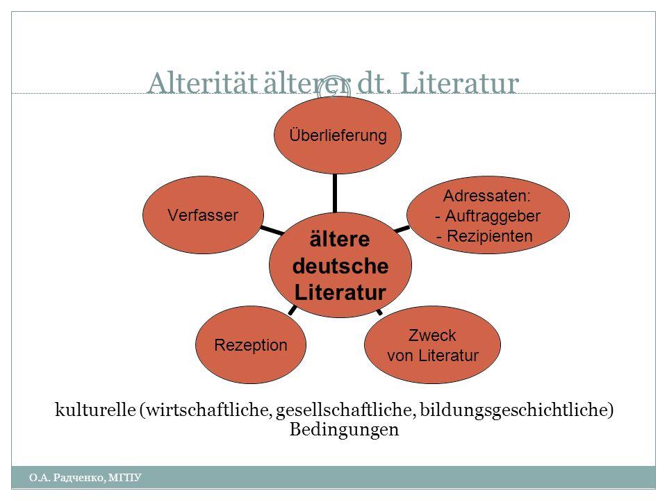 DEUTSCHE LITERATUR IM V.-XIV. JAHRHUNDERT Vorlesung 1